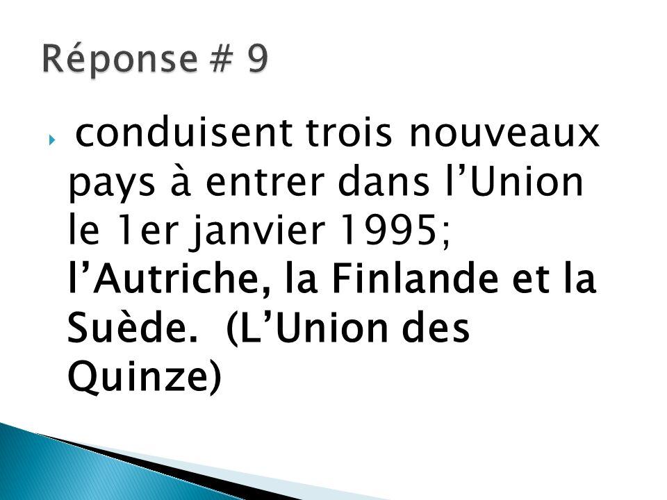 conduisent trois nouveaux pays à entrer dans lUnion le 1er janvier 1995; lAutriche, la Finlande et la Suède. (LUnion des Quinze)