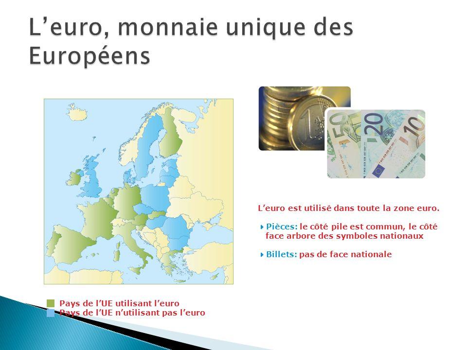 Pays de lUE utilisant leuro Pays de lUE nutilisant pas leuro Leuro est utilisé dans toute la zone euro. Pièces: le côté pile est commun, le côté face
