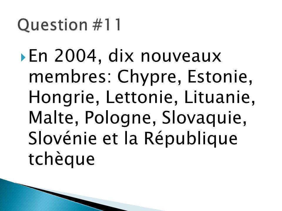En 2004, dix nouveaux membres: Chypre, Estonie, Hongrie, Lettonie, Lituanie, Malte, Pologne, Slovaquie, Slovénie et la République tchèque
