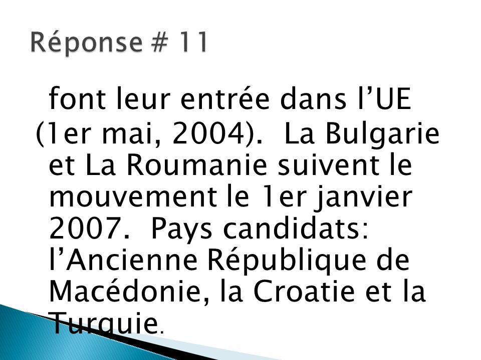 font leur entrée dans lUE (1er mai, 2004). La Bulgarie et La Roumanie suivent le mouvement le 1er janvier 2007. Pays candidats: lAncienne République d
