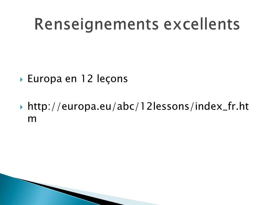 Europa en 12 leçons http://europa.eu/abc/12lessons/index_fr.ht m