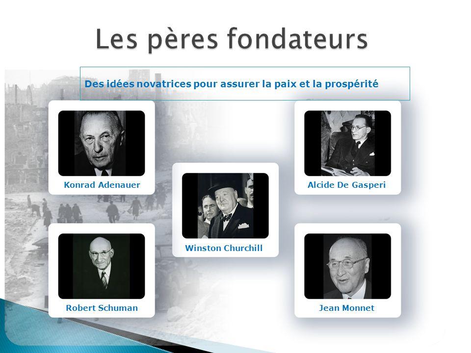 Des idées novatrices pour assurer la paix et la prospérité Konrad Adenauer Robert Schuman Winston Churchill Alcide De Gasperi Jean Monnet