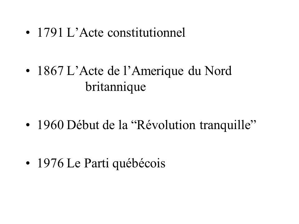 1791 LActe constitutionnel 1867 LActe de lAmerique du Nord britannique 1960 Début de la Révolution tranquille 1976 Le Parti québécois