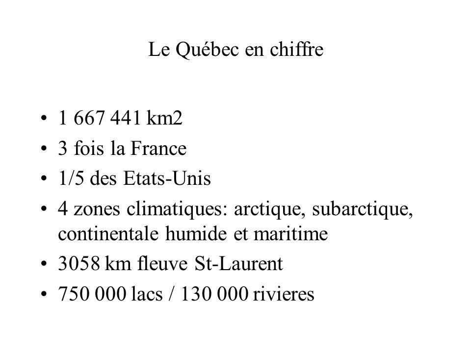 Le Québec en chiffre 1 667 441 km2 3 fois la France 1/5 des Etats-Unis 4 zones climatiques: arctique, subarctique, continentale humide et maritime 305