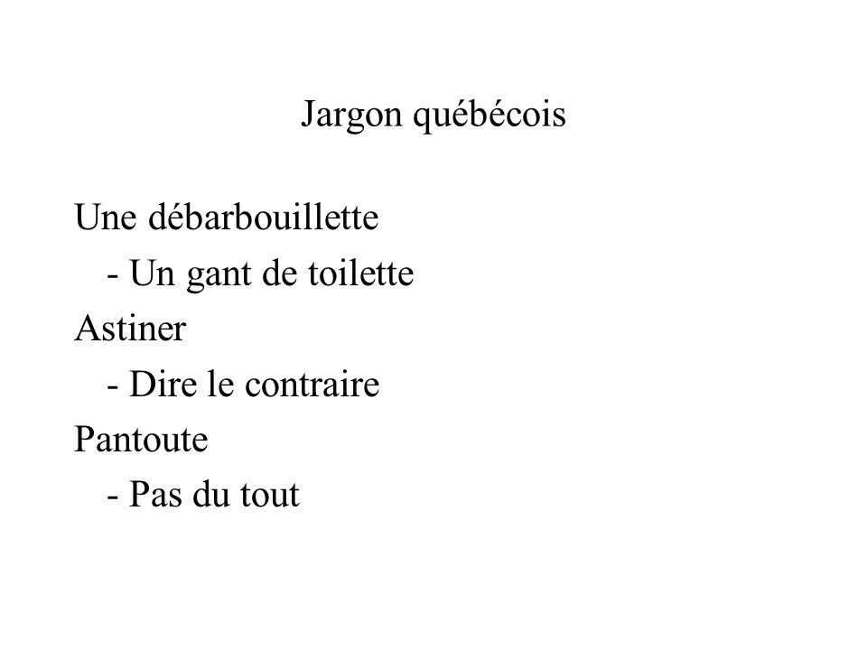 Jargon québécois Une débarbouillette - Un gant de toilette Astiner - Dire le contraire Pantoute - Pas du tout