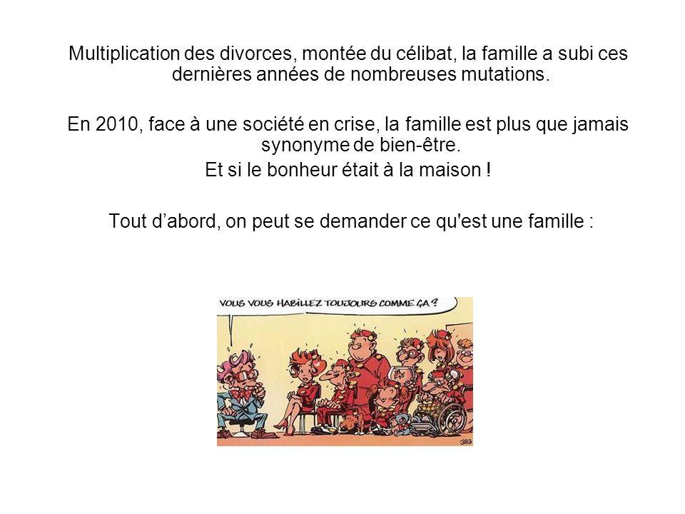 Tout dabord, on peut se demander ce qu'est une famille : Multiplication des divorces, montée du célibat, la famille a subi ces dernières années de nom