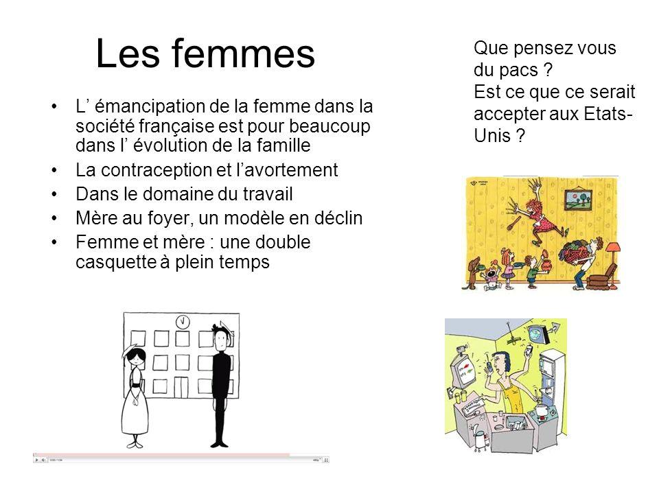 Les femmes L émancipation de la femme dans la société française est pour beaucoup dans l évolution de la famille La contraception et lavortement Dans