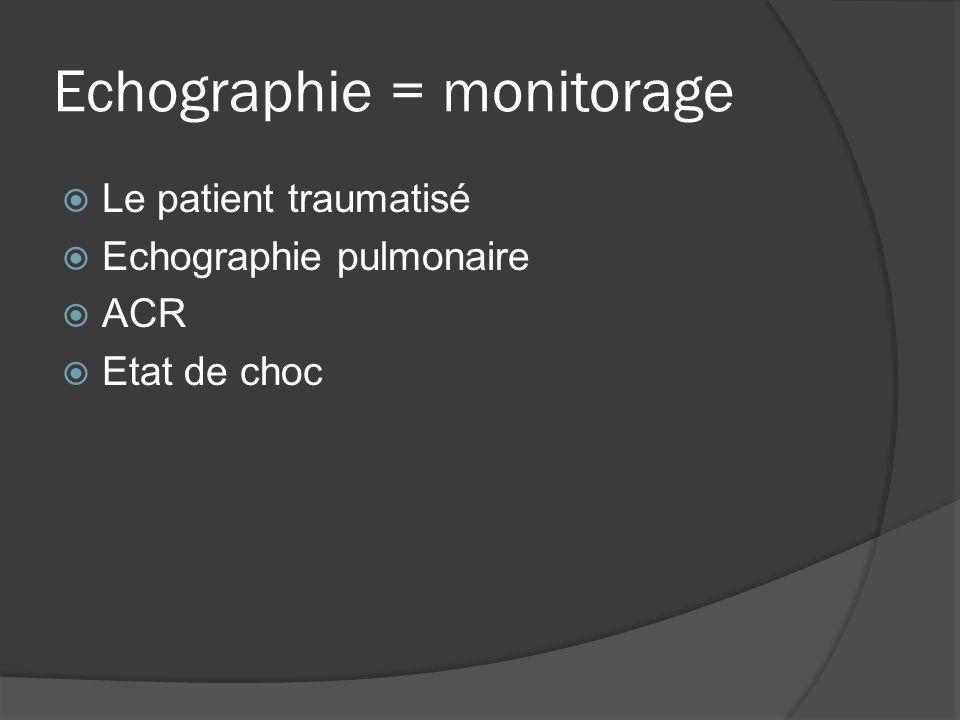 Echographie = monitorage Le patient traumatisé Echographie pulmonaire ACR Etat de choc
