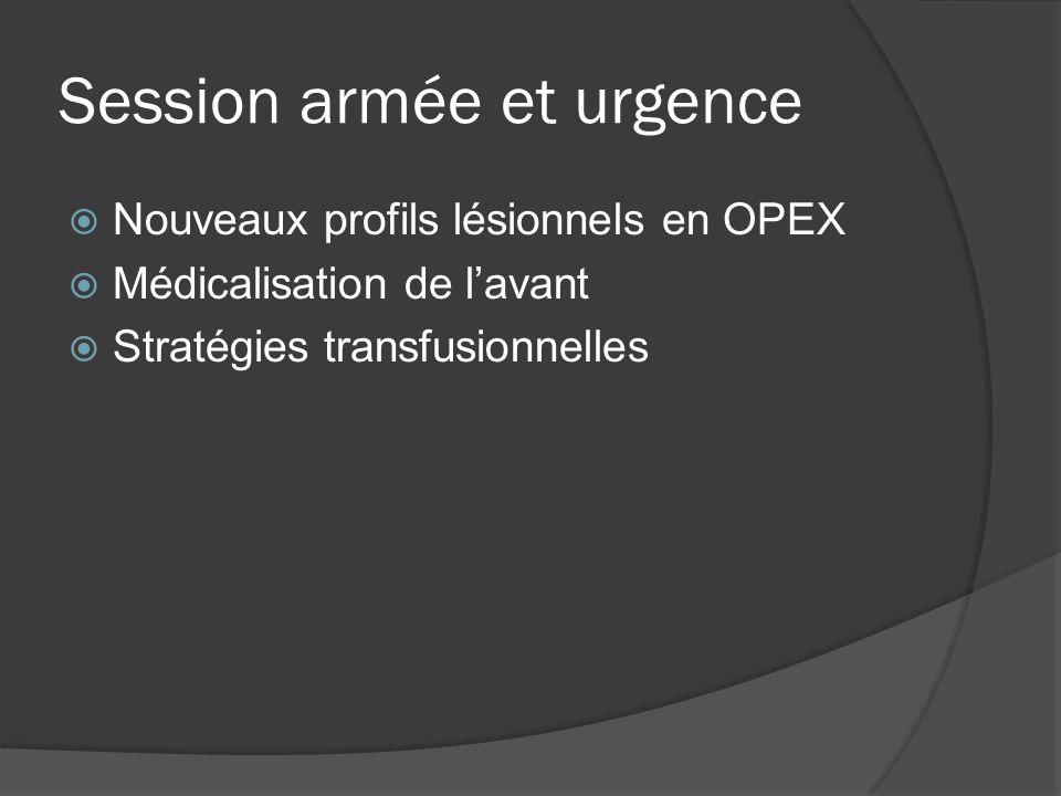 Session armée et urgence Nouveaux profils lésionnels en OPEX Médicalisation de lavant Stratégies transfusionnelles