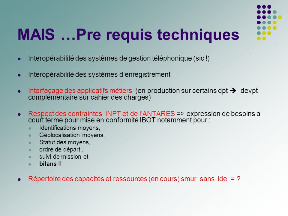 MAIS …Pre requis techniques Interopérabilité des systèmes de gestion téléphonique (sic !) Interopérabilité des systèmes denregistrement Interfaçage de