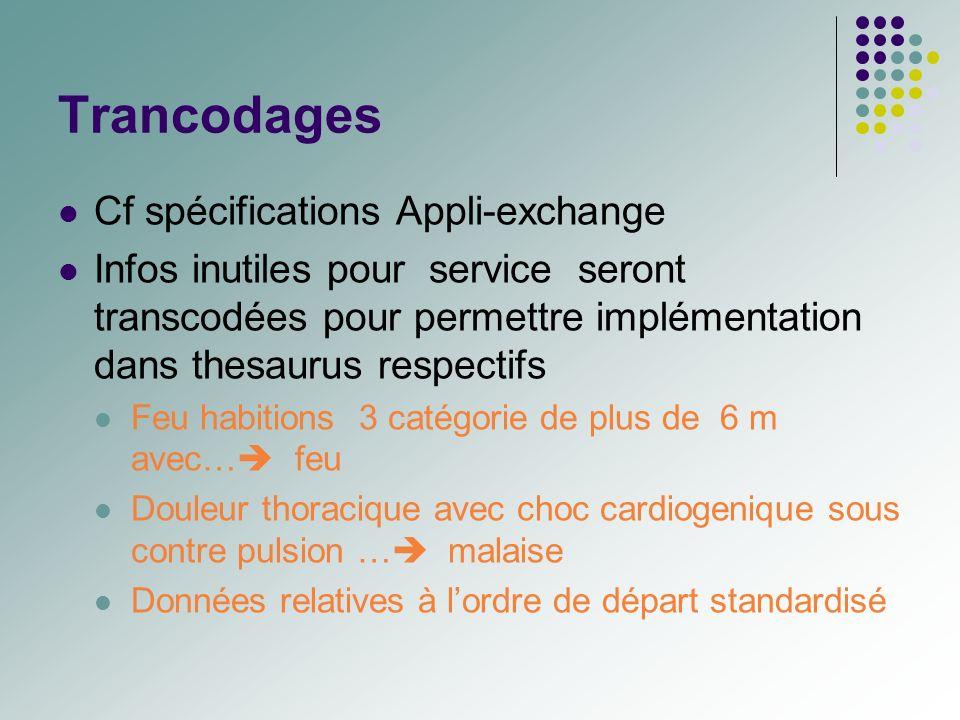 Trancodages Cf spécifications Appli-exchange Infos inutiles pour service seront transcodées pour permettre implémentation dans thesaurus respectifs Fe