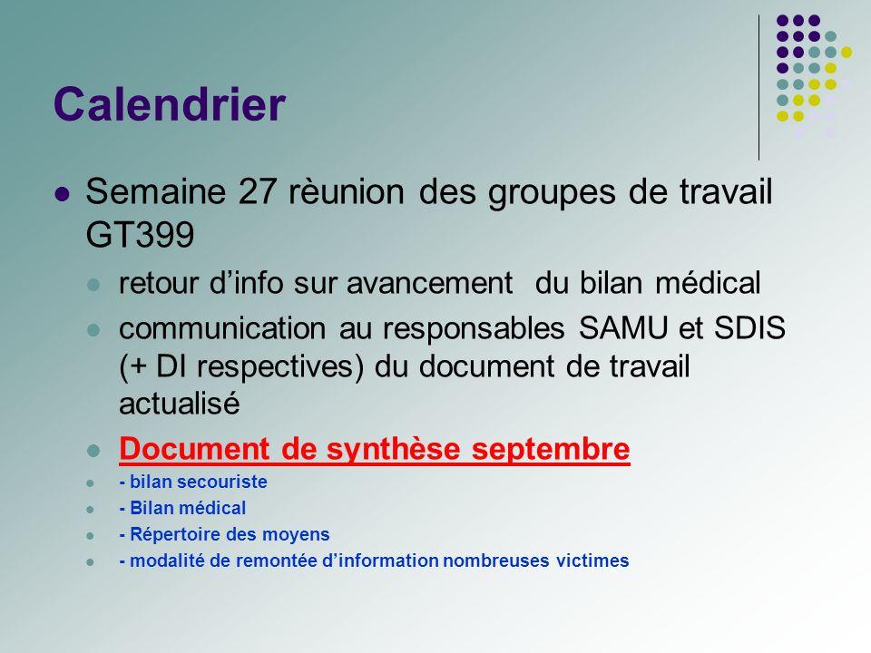 Calendrier Semaine 27 rèunion des groupes de travail GT399 retour dinfo sur avancement du bilan médical communication au responsables SAMU et SDIS (+