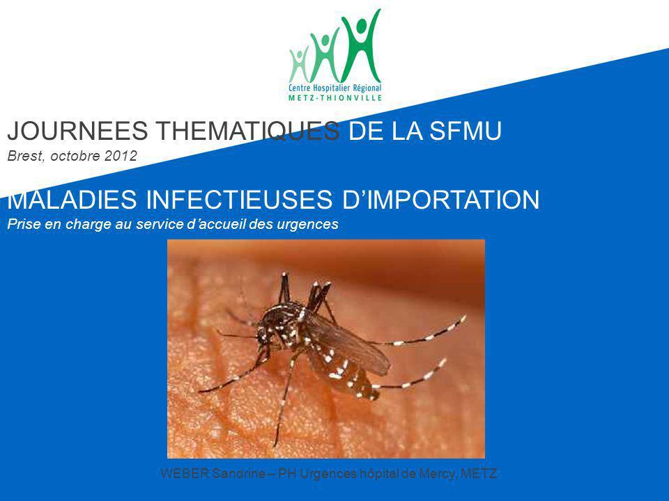 Consultation au retour : 5-8% des adultes Diarrhée Fièvre (8-77%) hôpital plus que médecine générale Dermatoses Chez lenfant voyageur D iarrhée (30-40%): incidence croissante avec lâge Dermatoses (25%) Signes respiratoires (20 à 30%) : jeunes enfants Fièvre (13 à 23%) 1/3 = paludisme et 1/4 =viroses Morsures animales non rares Hagmann S et al.