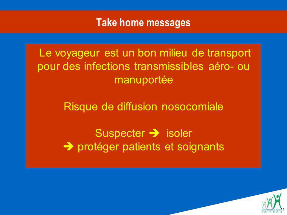 14 Take home messages Le voyageur est un bon milieu de transport pour des infections transmissibles aéro- ou manuportée Risque de diffusion nosocomiale Suspecter isoler protéger patients et soignants