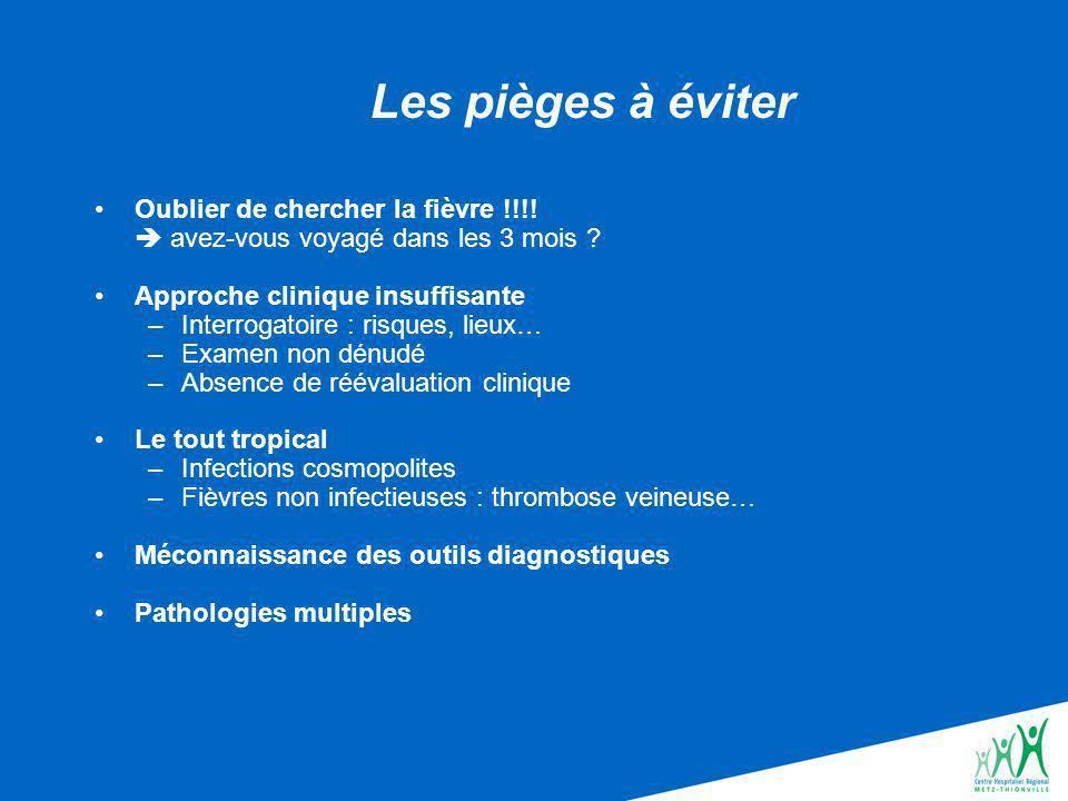 Les pièges à éviter Oublier de chercher la fièvre !!!.