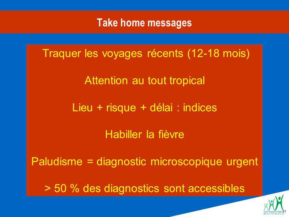 31 Take home messages Traquer les voyages récents (12-18 mois) Attention au tout tropical Lieu + risque + délai : indices Habiller la fièvre Paludisme = diagnostic microscopique urgent > 50 % des diagnostics sont accessibles