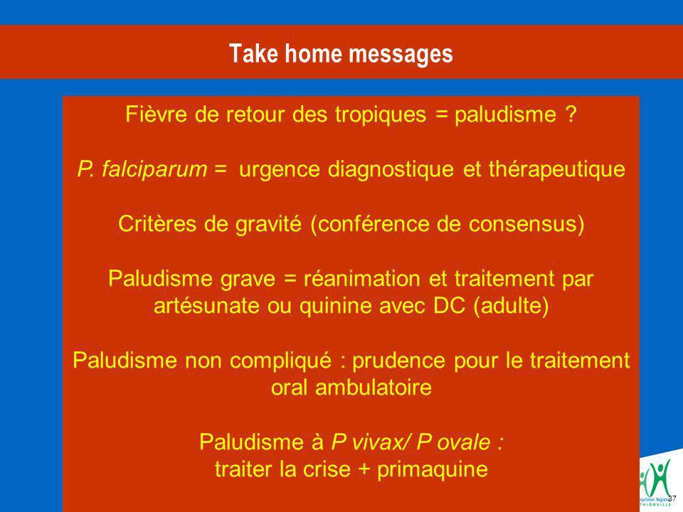 37 Take home messages Fièvre de retour des tropiques = paludisme .