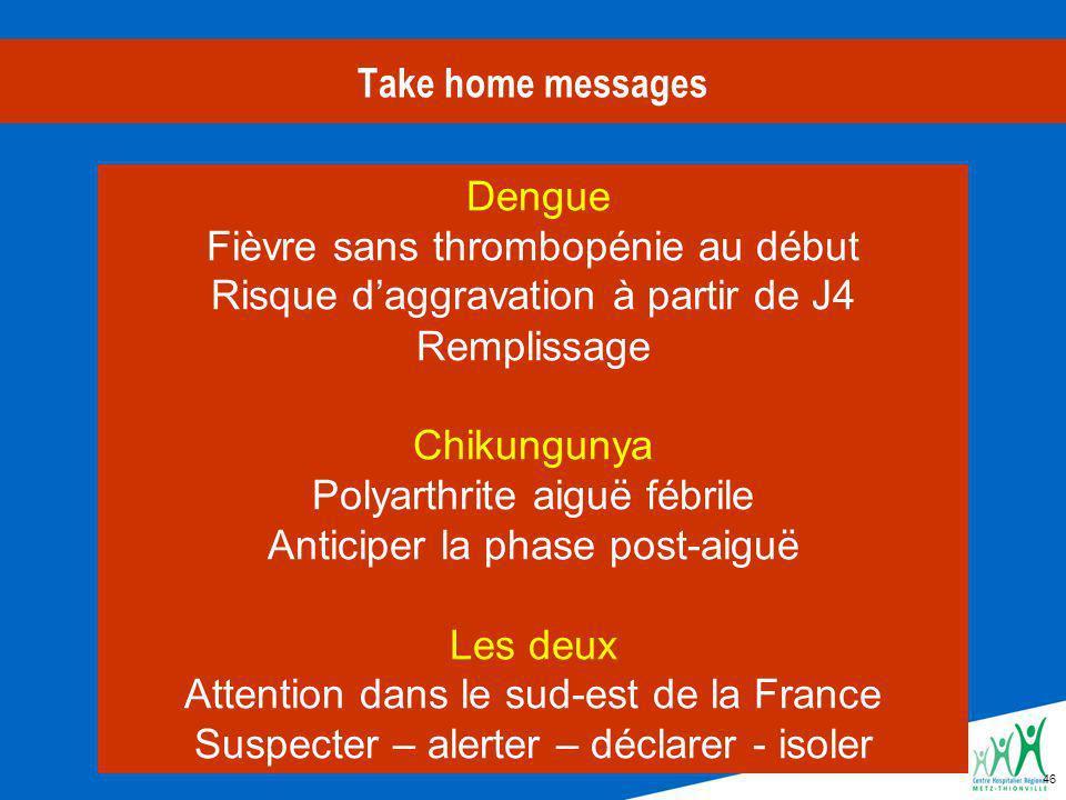 46 Take home messages Dengue Fièvre sans thrombopénie au début Risque daggravation à partir de J4 Remplissage Chikungunya Polyarthrite aiguë fébrile Anticiper la phase post-aiguë Les deux Attention dans le sud-est de la France Suspecter – alerter – déclarer - isoler