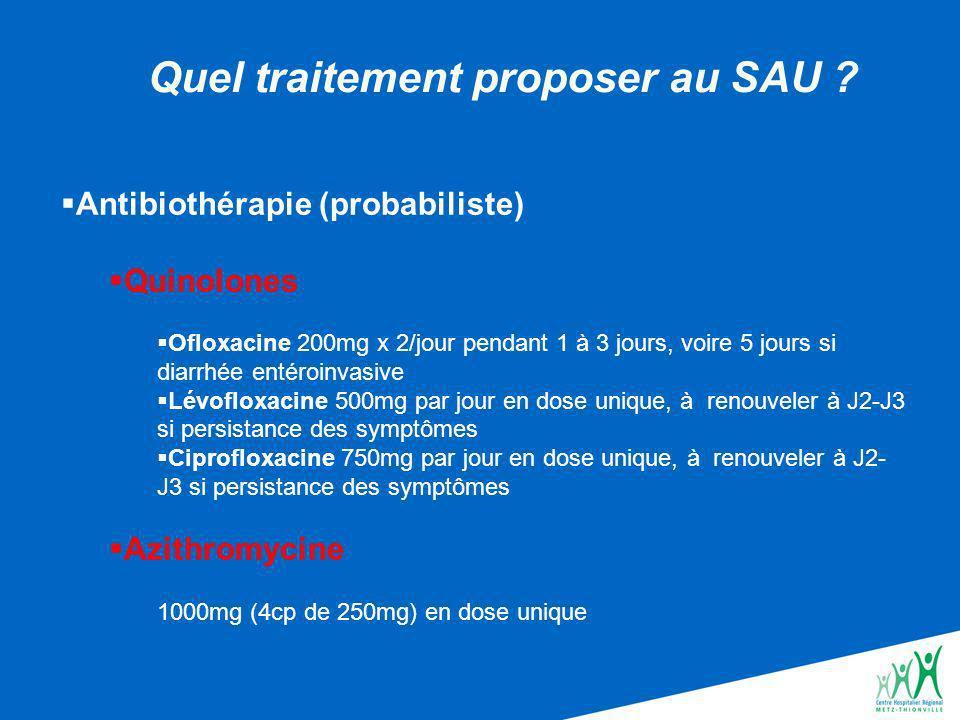 Antibiothérapie (probabiliste) Quinolones Ofloxacine 200mg x 2/jour pendant 1 à 3 jours, voire 5 jours si diarrhée entéroinvasive Lévofloxacine 500mg par jour en dose unique, à renouveler à J2-J3 si persistance des symptômes Ciprofloxacine 750mg par jour en dose unique, à renouveler à J2- J3 si persistance des symptômes Azithromycine 1000mg (4cp de 250mg) en dose unique Quel traitement proposer au SAU ?