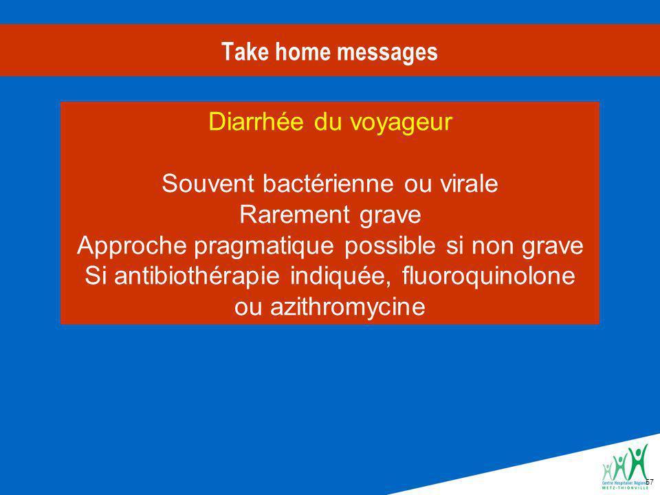 57 Take home messages Diarrhée du voyageur Souvent bactérienne ou virale Rarement grave Approche pragmatique possible si non grave Si antibiothérapie indiquée, fluoroquinolone ou azithromycine