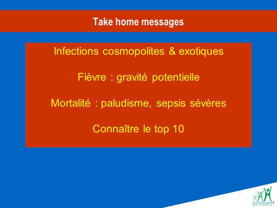8 Take home messages Infections cosmopolites & exotiques Fièvre : gravité potentielle Mortalité : paludisme, sepsis sévères Connaître le top 10