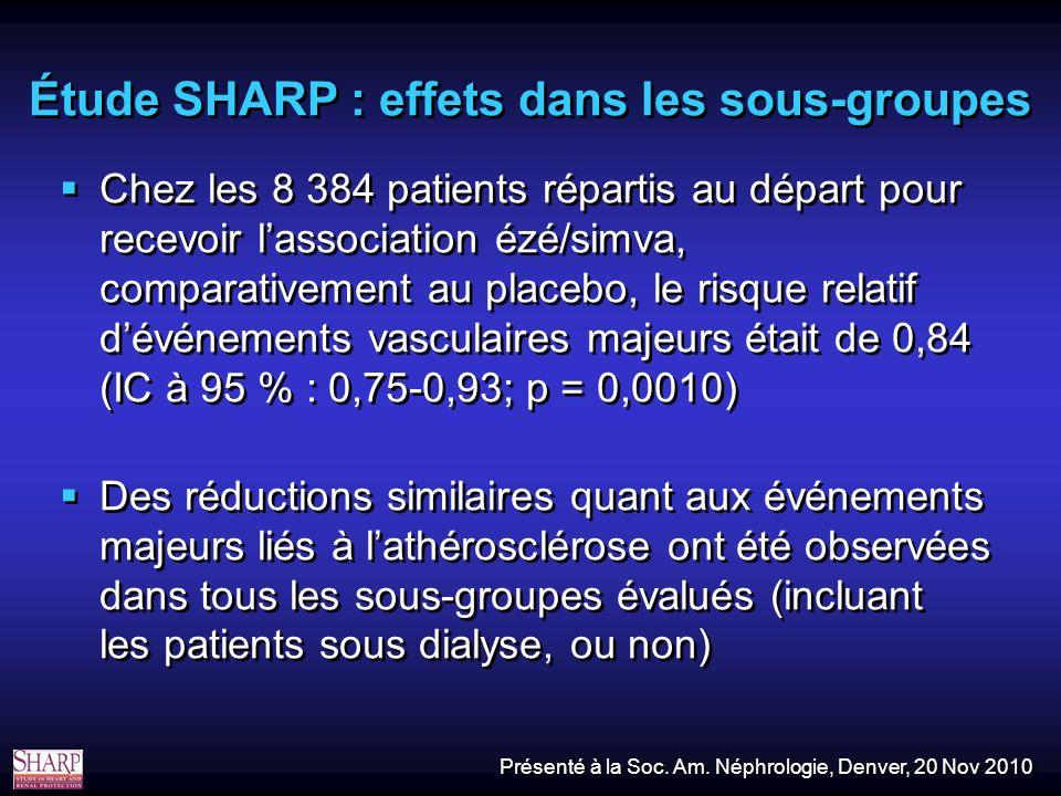 Étude SHARP : effets dans les sous-groupes Chez les 8 384 patients répartis au départ pour recevoir lassociation ézé/simva, comparativement au placebo, le risque relatif dévénements vasculaires majeurs était de 0,84 (IC à 95 % : 0,75-0,93; p = 0,0010) Des réductions similaires quant aux événements majeurs liés à lathérosclérose ont été observées dans tous les sous-groupes évalués (incluant les patients sous dialyse, ou non) Chez les 8 384 patients répartis au départ pour recevoir lassociation ézé/simva, comparativement au placebo, le risque relatif dévénements vasculaires majeurs était de 0,84 (IC à 95 % : 0,75-0,93; p = 0,0010) Des réductions similaires quant aux événements majeurs liés à lathérosclérose ont été observées dans tous les sous-groupes évalués (incluant les patients sous dialyse, ou non) Présenté à la Soc.