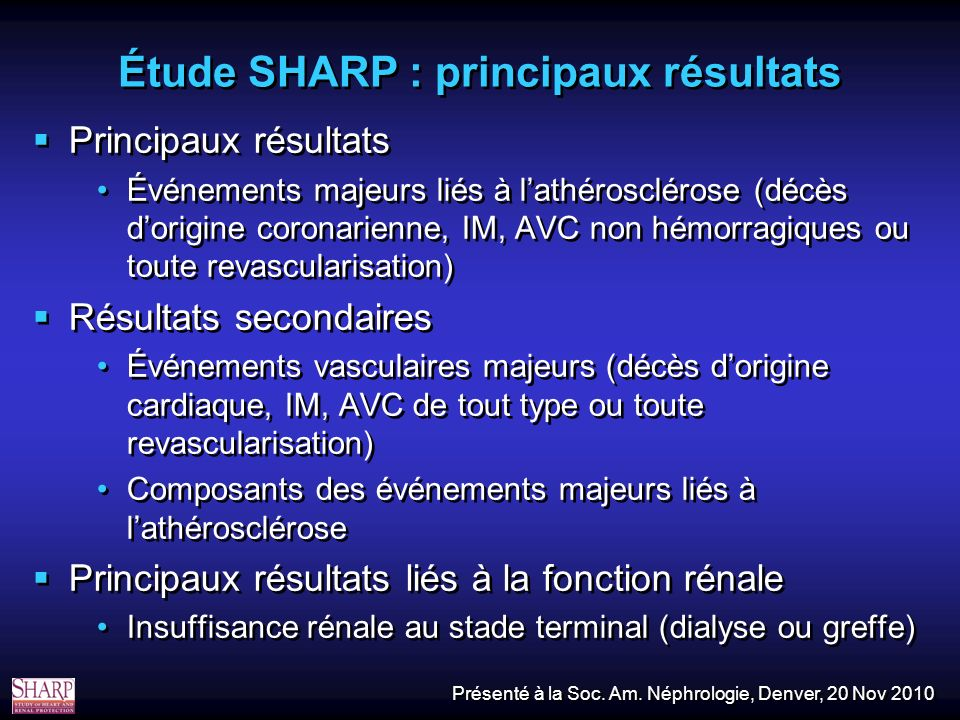 Étude SHARP : principaux résultats Principaux résultats Événements majeurs liés à lathérosclérose (décès dorigine coronarienne, IM, AVC non hémorragiques ou toute revascularisation) Résultats secondaires Événements vasculaires majeurs (décès dorigine cardiaque, IM, AVC de tout type ou toute revascularisation) Composants des événements majeurs liés à lathérosclérose Principaux résultats liés à la fonction rénale Insuffisance rénale au stade terminal (dialyse ou greffe) Principaux résultats Événements majeurs liés à lathérosclérose (décès dorigine coronarienne, IM, AVC non hémorragiques ou toute revascularisation) Résultats secondaires Événements vasculaires majeurs (décès dorigine cardiaque, IM, AVC de tout type ou toute revascularisation) Composants des événements majeurs liés à lathérosclérose Principaux résultats liés à la fonction rénale Insuffisance rénale au stade terminal (dialyse ou greffe) Présenté à la Soc.
