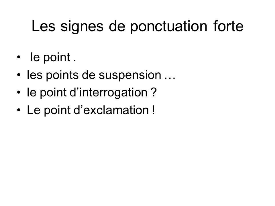 Les signes de ponctuation forte le point. les points de suspension … le point dinterrogation ? Le point dexclamation !