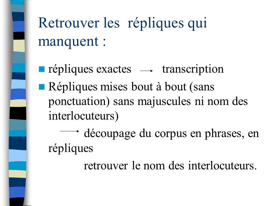 Retrouver les répliques qui manquent : répliques exactes transcription Répliques mises bout à bout (sans ponctuation) sans majuscules ni nom des inter