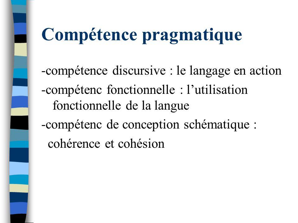Compétence pragmatique -compétence discursive : le langage en action -compétenc fonctionnelle : lutilisation fonctionnelle de la langue -compétenc de
