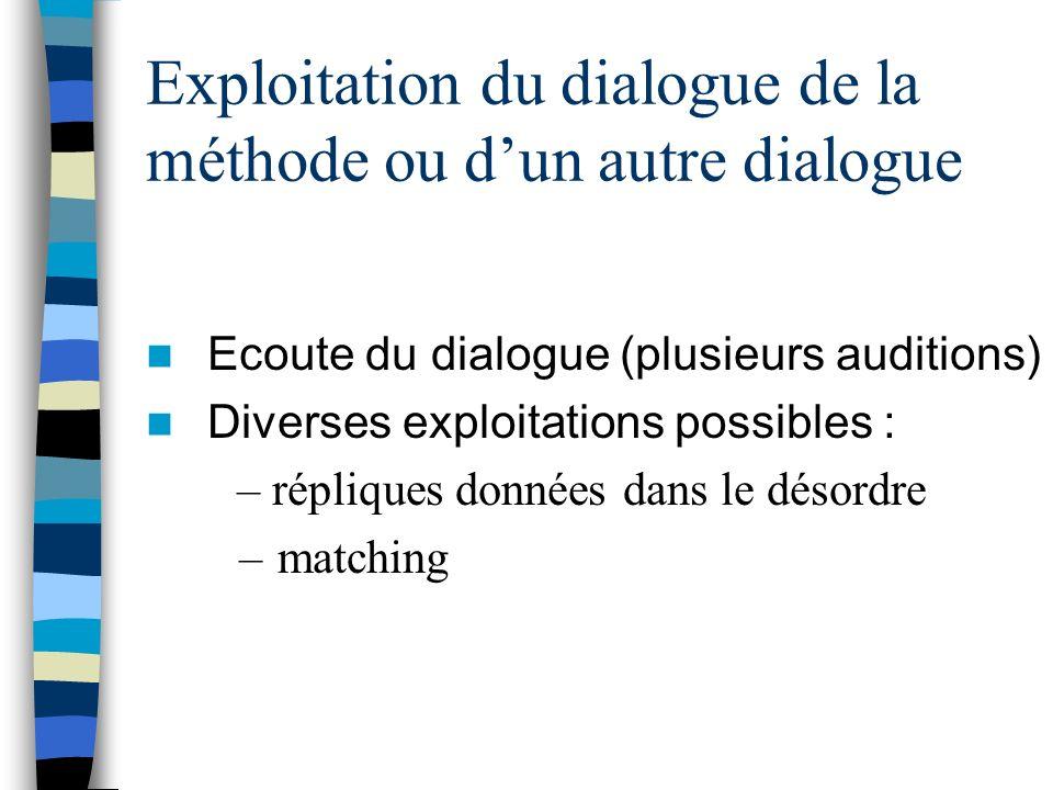 Exploitation du dialogue de la méthode ou dun autre dialogue Ecoute du dialogue (plusieurs auditions) Diverses exploitations possibles : – répliques d