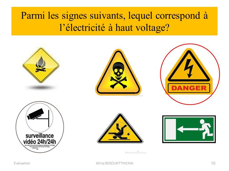 Parmi les signes suivants, lequel correspond à lélectricité à haut voltage? EvaluationWiroj KOSOLRITTHICHAI10