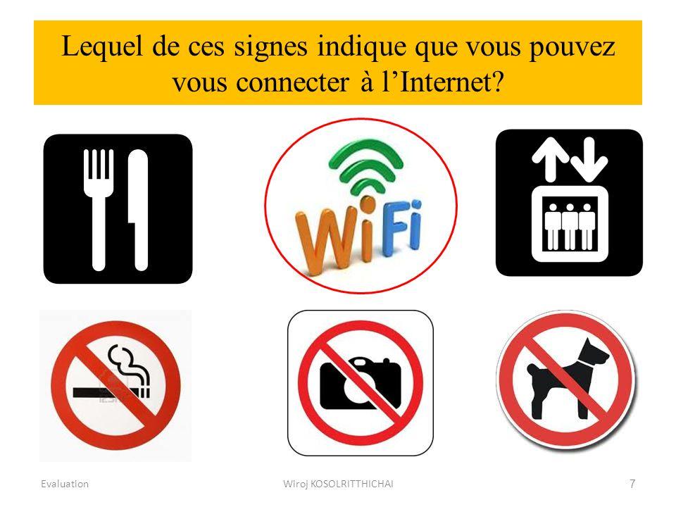 Lequel de ces signes indique que vous pouvez vous connecter à lInternet? EvaluationWiroj KOSOLRITTHICHAI7