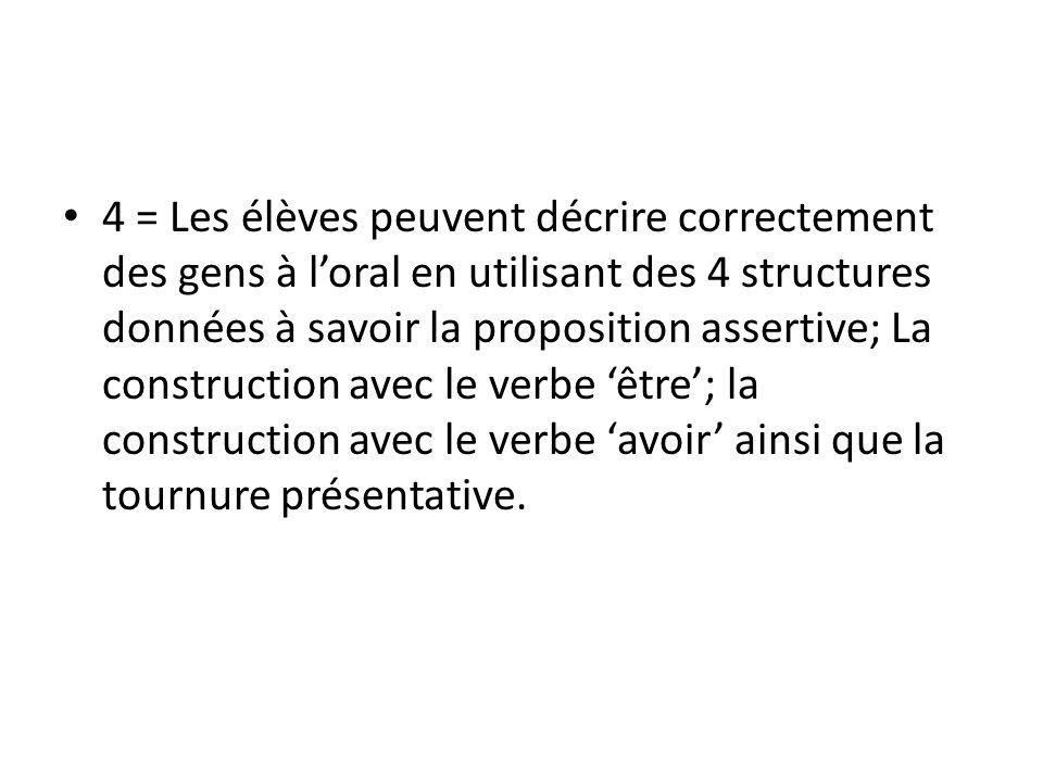 4 = Les élèves peuvent décrire correctement des gens à loral en utilisant des 4 structures données à savoir la proposition assertive; La construction