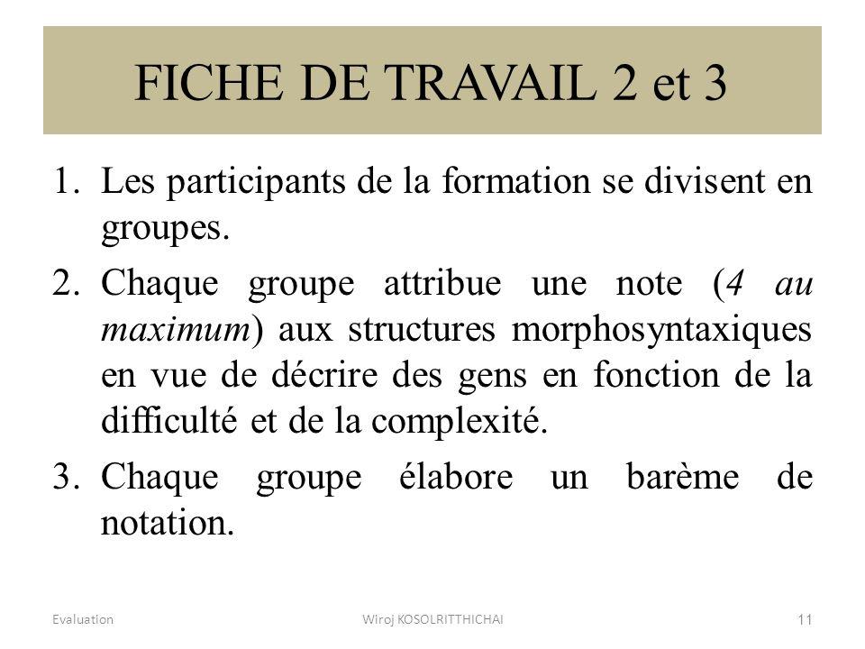 FICHE DE TRAVAIL 2 et 3 1.Les participants de la formation se divisent en groupes. 2.Chaque groupe attribue une note (4 au maximum) aux structures mor