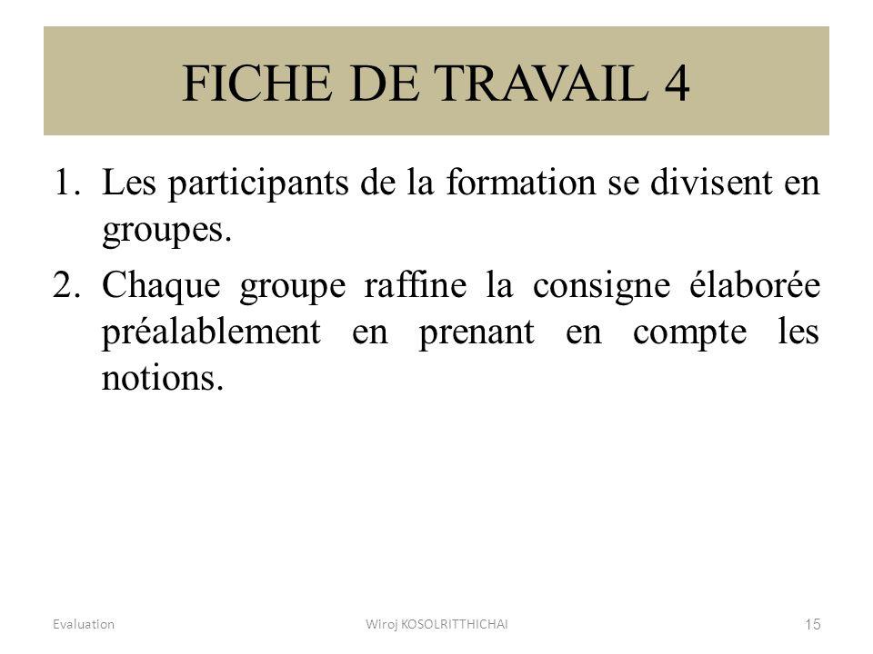 FICHE DE TRAVAIL 4 1.Les participants de la formation se divisent en groupes. 2.Chaque groupe raffine la consigne élaborée préalablement en prenant en