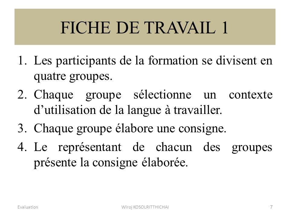 FICHE DE TRAVAIL 1 1.Les participants de la formation se divisent en quatre groupes. 2.Chaque groupe sélectionne un contexte dutilisation de la langue