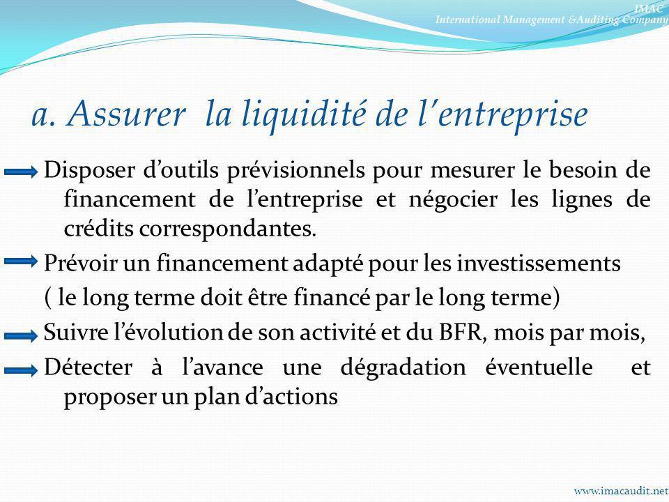 a. Assurer la liquidité de lentreprise Disposer doutils prévisionnels pour mesurer le besoin de financement de lentreprise et négocier les lignes de c