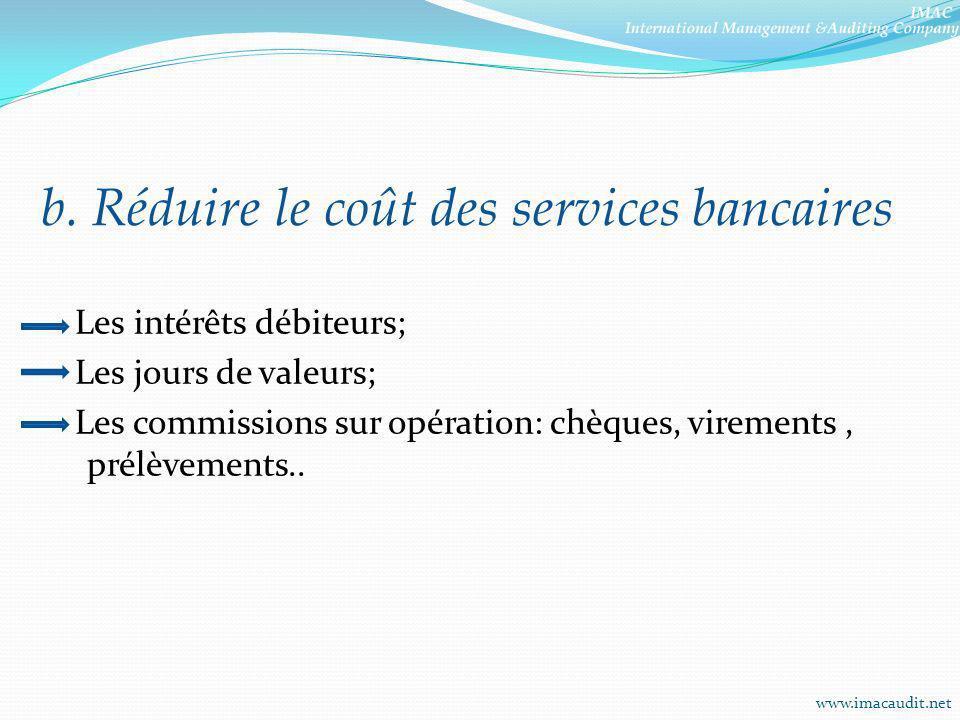 b. Réduire le coût des services bancaires Les intérêts débiteurs; Les jours de valeurs; Les commissions sur opération: chèques, virements, prélèvement