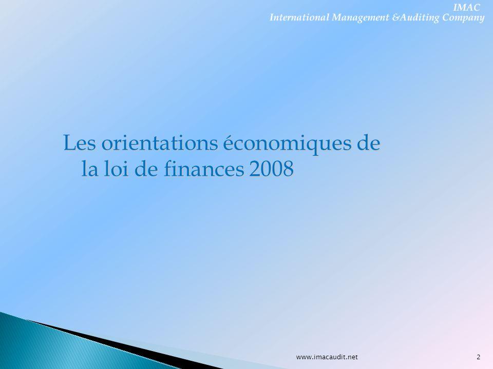 Les orientations économiques de la loi de finances 2008 2