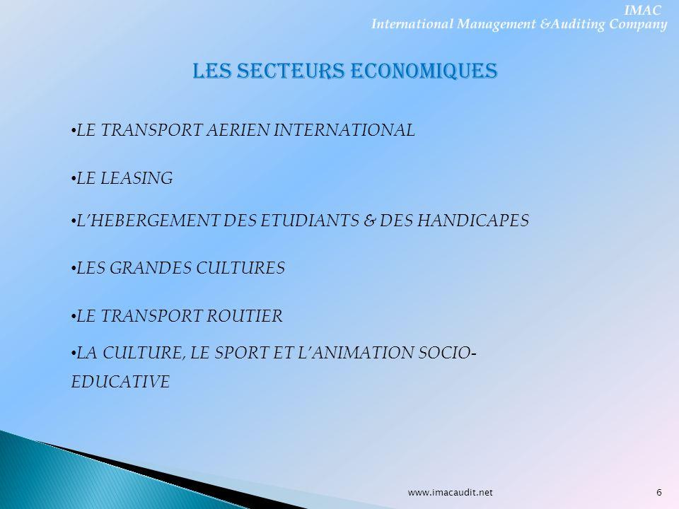 www.imacaudit.net LES SECTEURS ECONOMIQUES LE TRANSPORT AERIEN INTERNATIONAL LE LEASING LHEBERGEMENT DES ETUDIANTS & DES HANDICAPES LES GRANDES CULTUR