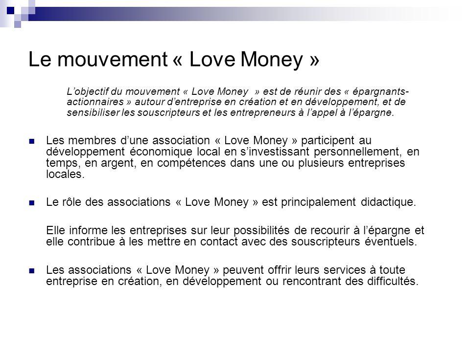 Le mouvement « Love Money » Lobjectif du mouvement « Love Money » est de réunir des « épargnants- actionnaires » autour dentreprise en création et en