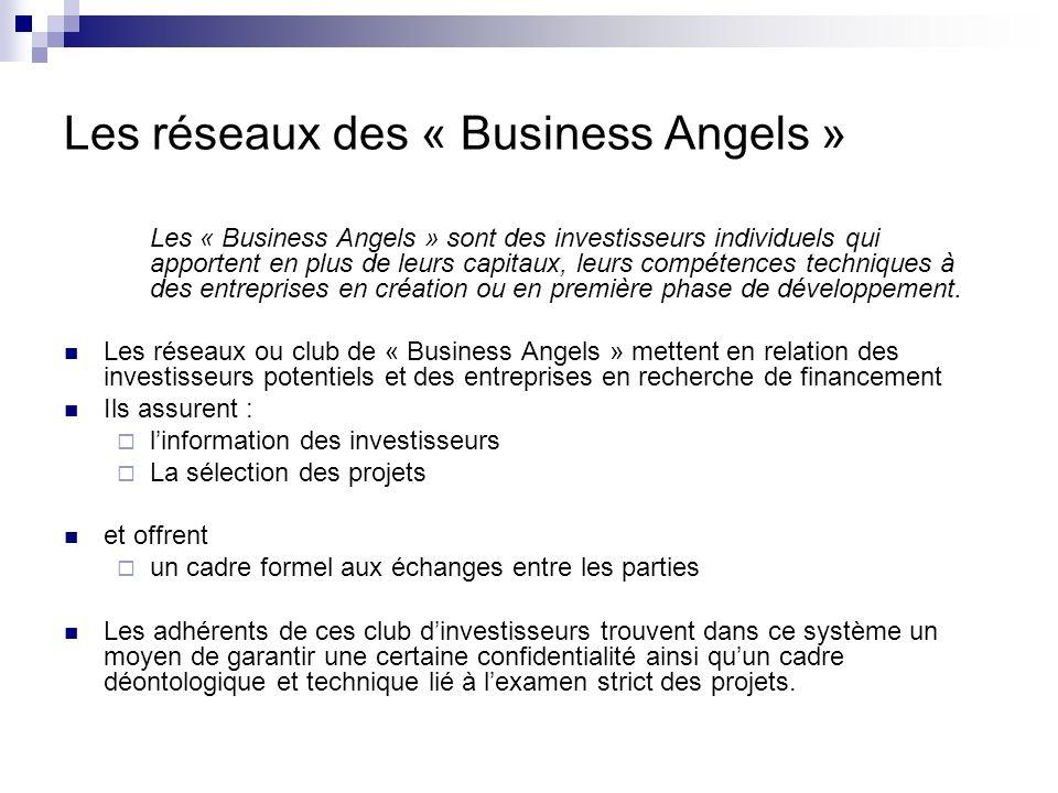 Les réseaux des « Business Angels » Les « Business Angels » sont des investisseurs individuels qui apportent en plus de leurs capitaux, leurs compéten