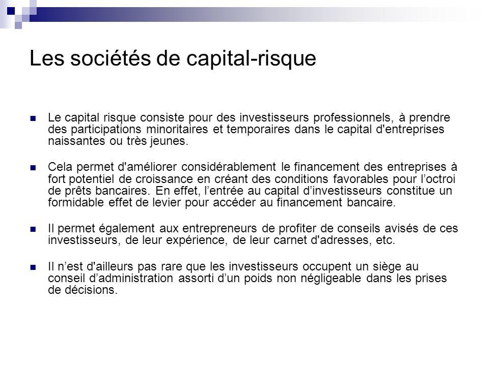 Le capital risque consiste pour des investisseurs professionnels, à prendre des participations minoritaires et temporaires dans le capital d'entrepris