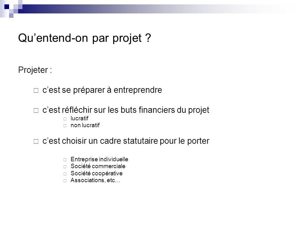 Projeter : cest se préparer à entreprendre cest réfléchir sur les buts financiers du projet lucratif non lucratif cest choisir un cadre statutaire pou