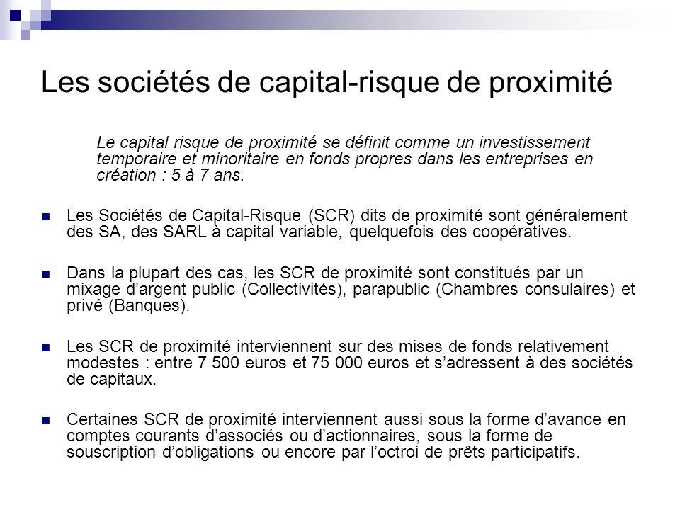 Les sociétés de capital-risque de proximité Le capital risque de proximité se définit comme un investissement temporaire et minoritaire en fonds propr