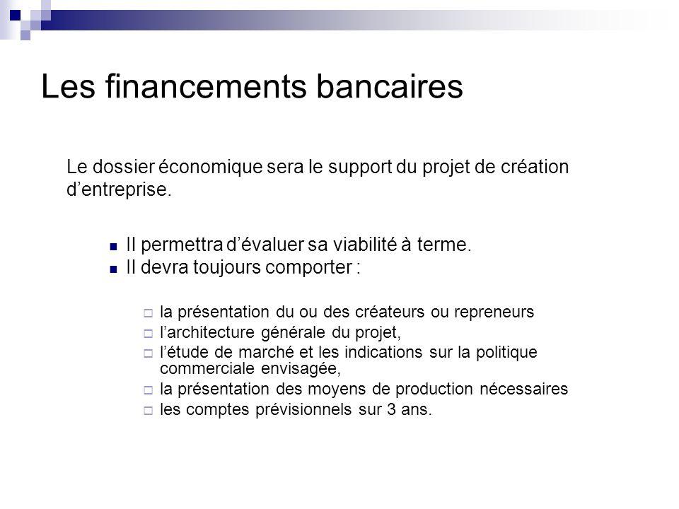 Les financements bancaires Le dossier économique sera le support du projet de création dentreprise. Il permettra dévaluer sa viabilité à terme. Il dev
