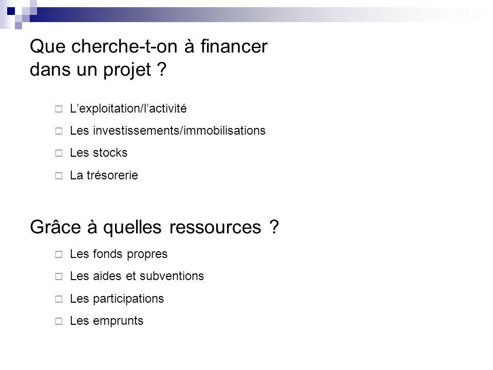 Que cherche-t-on à financer dans un projet ? Lexploitation/lactivité Les investissements/immobilisations Les stocks La trésorerie Grâce à quelles ress