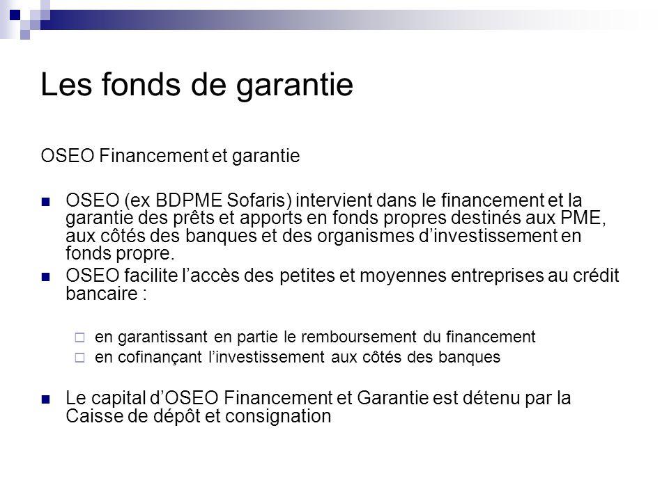 OSEO Financement et garantie OSEO (ex BDPME Sofaris) intervient dans le financement et la garantie des prêts et apports en fonds propres destinés aux