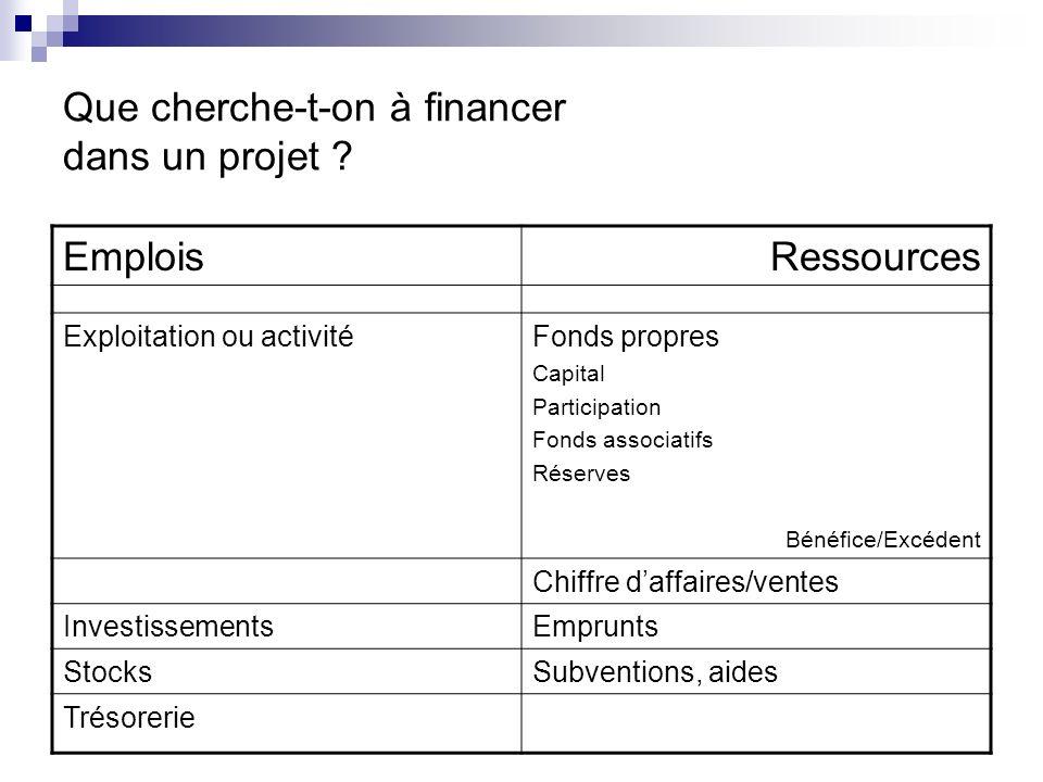 EmploisRessources Exploitation ou activitéFonds propres Capital Participation Fonds associatifs Réserves Bénéfice/Excédent Chiffre daffaires/ventes In